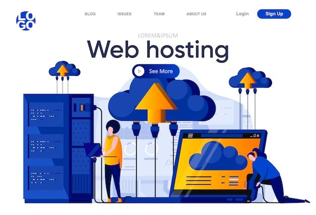 Płaska strona docelowa hostingu internetowego. specjaliści it zarządzający ilustracją sprzętu serwerowego. technologia przetwarzania danych w centrach danych, hosting i kompozycja stron internetowych usług wsparcia ze znakami ludzi.