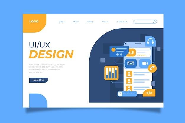 Płaska strona docelowa interfejsu użytkownika/ux