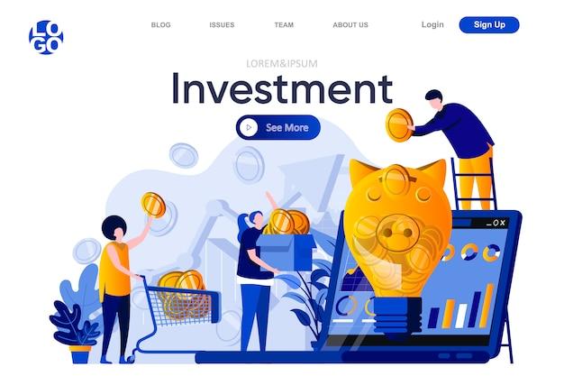 Płaska strona docelowa inwestycji. ludzie wkładają złote monety do ilustracji skarbonki. inwestycje finansowe, fundusz emerytalny, skład strony internetowej o kapitałach emerytalnych z postaciami osób