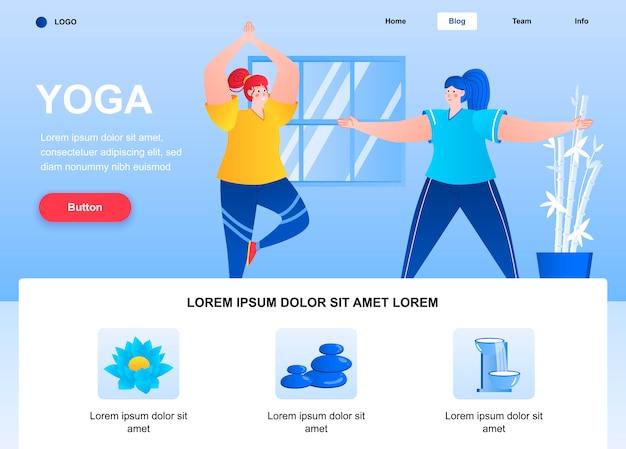 Płaska strona docelowa jogi. strona internetowa młodych kobiet praktykujących asany jogi.