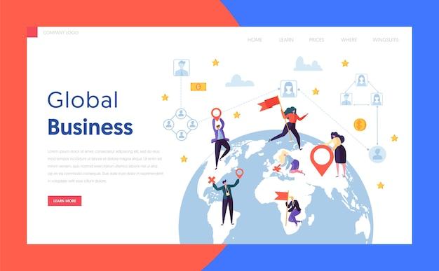 Płaska strona docelowa koncepcja biznesmena na całym świecie. projekt kuli ziemskiej globalny biznesmen korporacyjny nawiązał współpracę z witryną lub stroną internetową world globe. ilustracja wektorowa płaski kreskówka