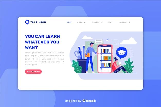 Płaska strona docelowa koncepcji e-learningu