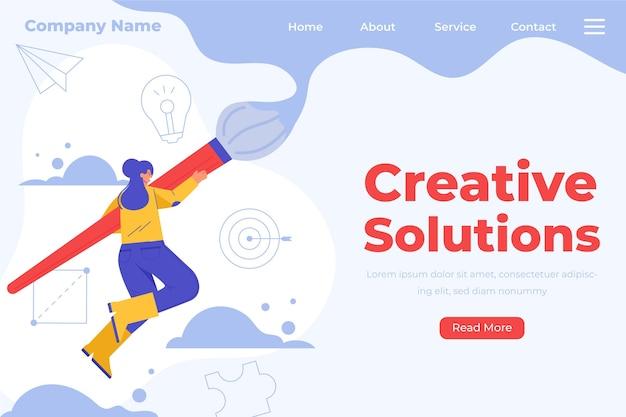 Płaska Strona Docelowa Kreatywnych Rozwiązań Darmowych Wektorów