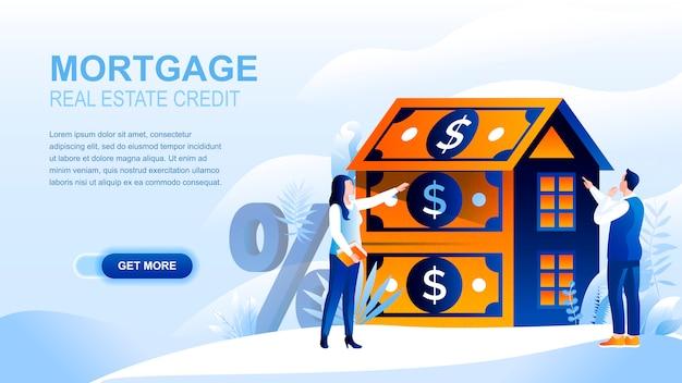 Płaska strona docelowa kredytu hipotecznego z nagłówkiem, szablon transparentu.