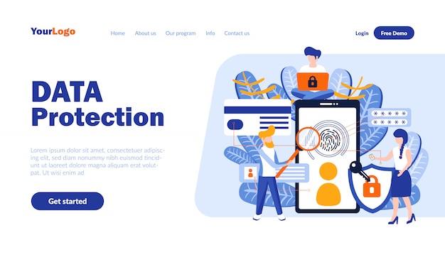Płaska strona docelowa ochrony danych z nagłówkiem