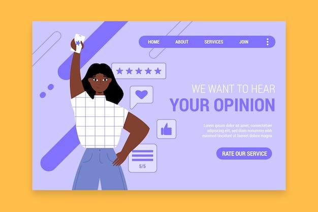 Płaska strona docelowa opinii
