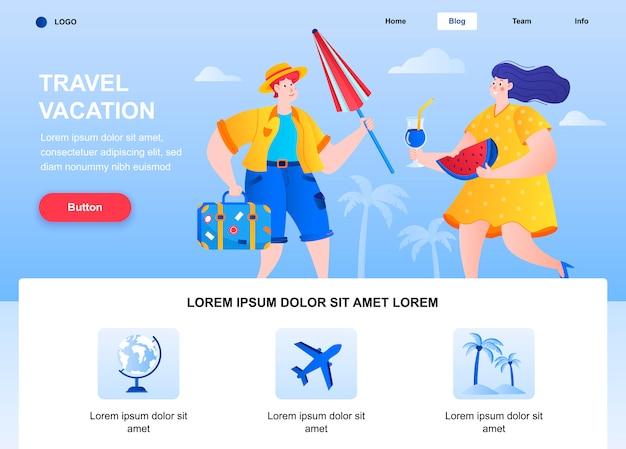 Płaska strona docelowa podróży wakacyjnych. turysta z bagażem i parasolem odpoczywa na stronie internetowej.