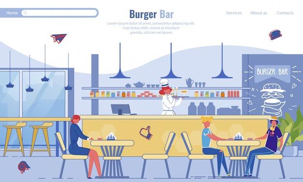 Płaska strona docelowa promująca nowoczesny bar burger