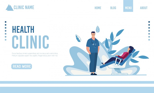 Płaska strona docelowa przedstawiająca nowoczesną klinikę zdrowia