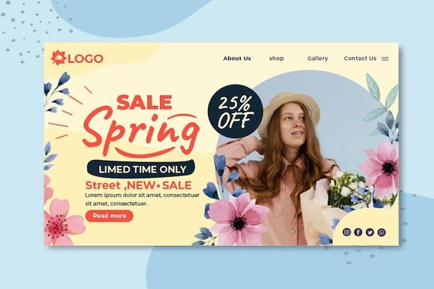 Płaska strona docelowa sprzedaży wiosennej