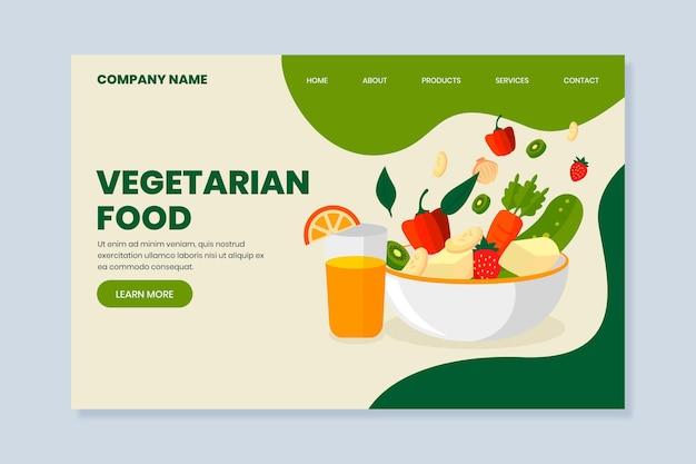 Płaska strona docelowa wegetariańskiego jedzenia