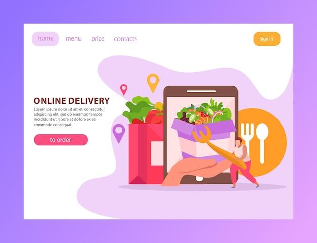 Płaska strona docelowa z dostawą jedzenia z tekstowymi przyciskami klikalnych linków oraz obrazami gadżetów i ilustracji fastfood
