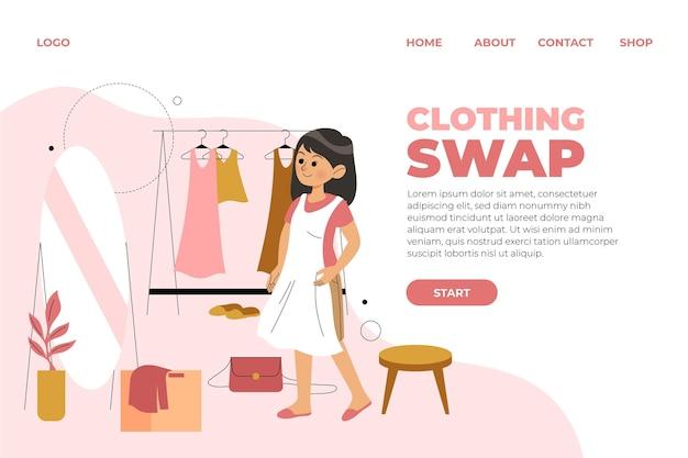 Płaska strona docelowa zamiany ubrań