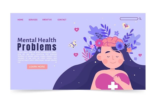 Płaska strona docelowa zdrowia psychicznego