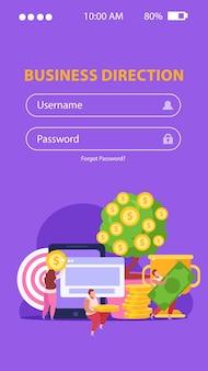 Płaska strona mobilna crowdfundingowa z formularzem logowania i osobami zbierającymi pieniądze na pomysły biznesowe