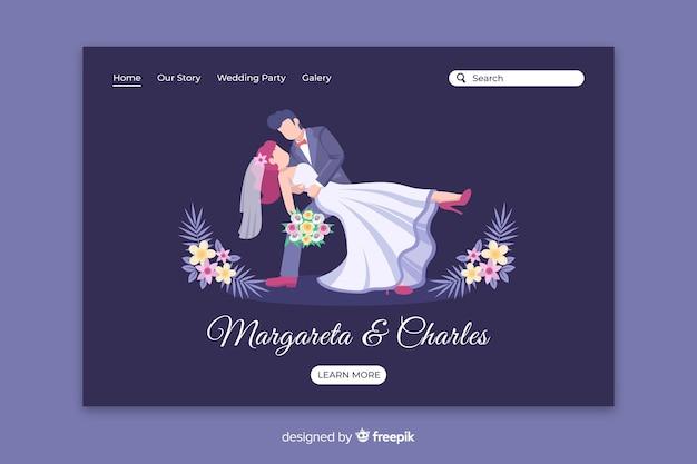 Płaska strona ślubna para