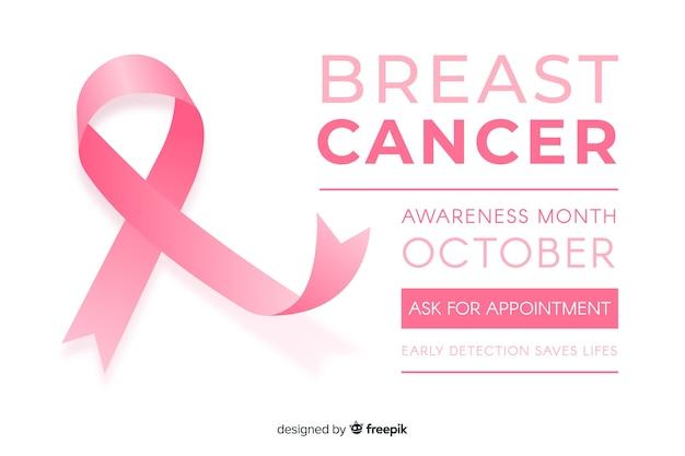 Płaska świadomość raka piersi ze wstążką