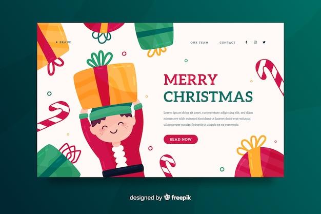 Płaska świąteczna strona docelowa z elfem