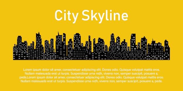 Płaska sylwetka miasta.