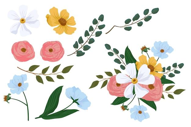Płaska szczegółowa kolekcja wiosennych kwiatów