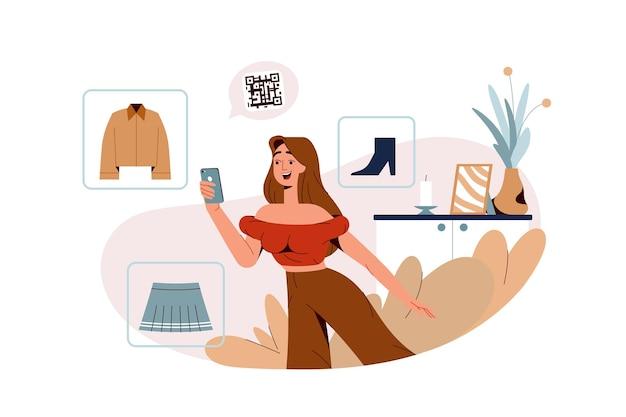 Płaska szczęśliwa dziewczyna skanuje kod qr do bezdotykowego kupowania ubrań