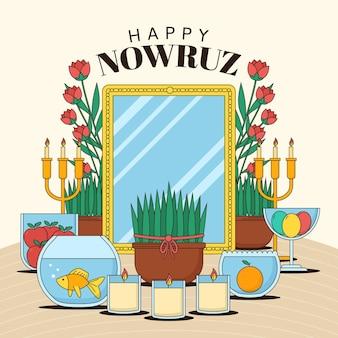 Płaska Szczęśliwa Nowruz Ilustracja Premium Wektorów