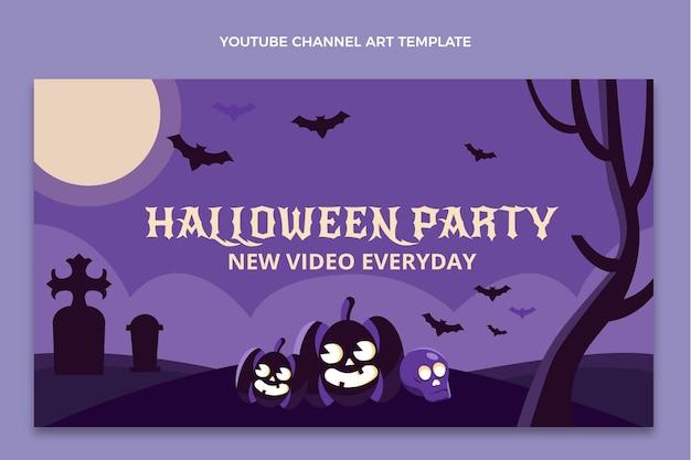 Płaska sztuka halloweenowego kanału youtube