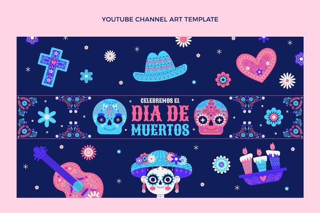 Płaska sztuka kanału dia de muertos na youtube