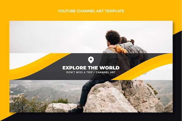 Płaska sztuka kanału podróży na youtube