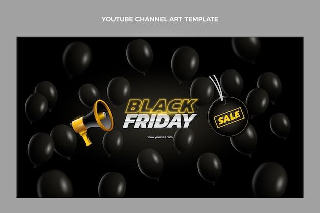 Płaska sztuka kanału youtube w czarny piątek