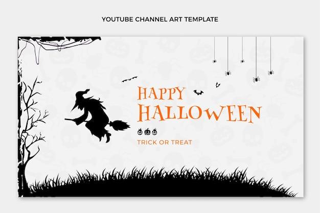 Płaska sztuka kanału youtube z okazji halloween