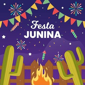 Płaska tapeta festa junina z ogniskiem