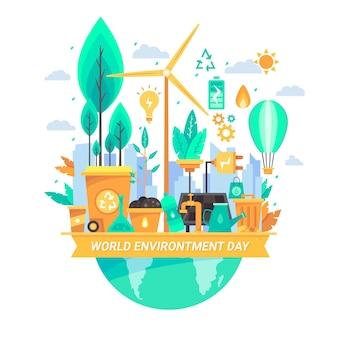Płaska tapeta światowego dnia środowiska tapeta