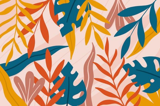Płaska tapeta wiosna z kolorowymi liśćmi