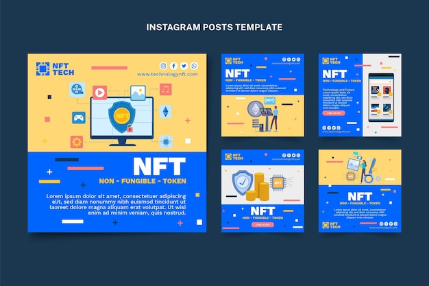 Płaska technologia projektowania postu na instagramie