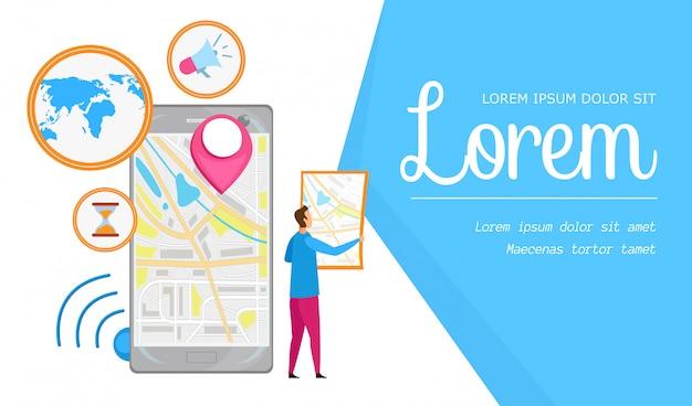 Płaska transparent aplikacji miejskiej nawigacji