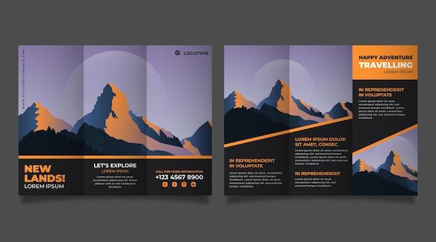 Płaska trójdzielna broszura przygodowa