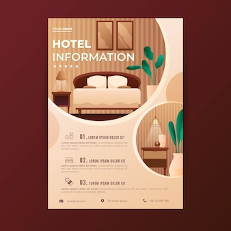 Płaska ulotka informacyjna o hotelu