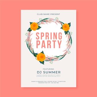 Płaska ulotka na wiosenne przyjęcie w kolorowe kwiaty