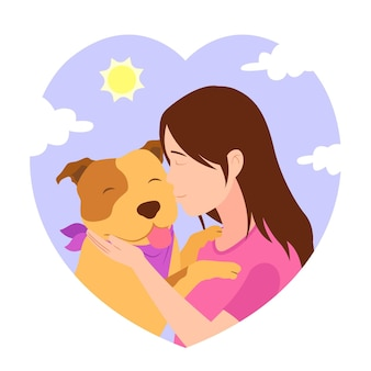 Płaska urocza ilustracja pitbull