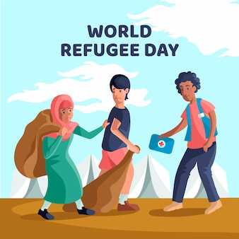 Płaska uroczystość światowy dzień uchodźcy