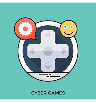 Płaska wektorowa ikona cyber games