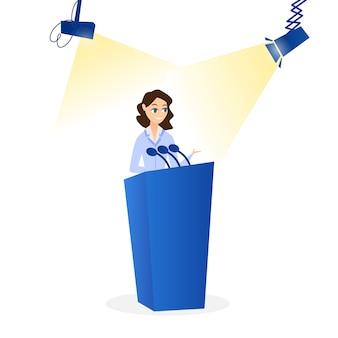 Płaska wektorowa ilustracja kobieta mówi na podium