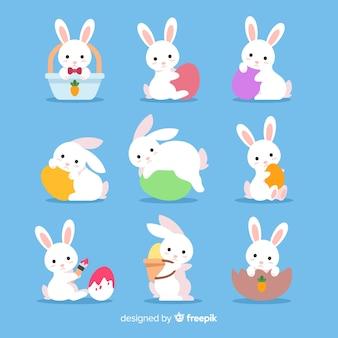 Płaska wielkanocna kolekcja króliczek