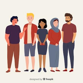 Płaska wielorasowa grupa ludzi