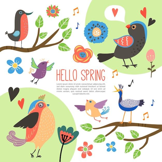 Płaska wiosenna kompozycja z pięknymi kolorowymi ptakami na gałęziach drzew róża tulipanów