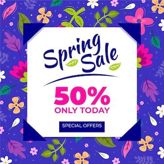 Płaska wiosenna promocja sprzedaży z ilustracjami