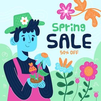 Płaska wiosenna wyprzedaż z kolorowymi kwiatami i ilustracją ogrodnika