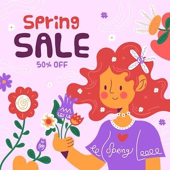 Płaska wiosenna wyprzedaż z kolorowymi kwiatami i ilustrowaną dziewczyną