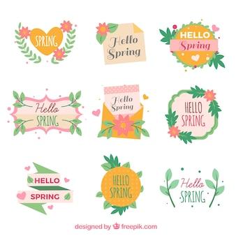 Płaska wiosna etykiety lub odznaka kolekcja